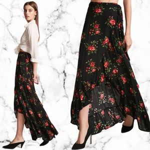 Forever 21 Floral High Low Wrap Skirt